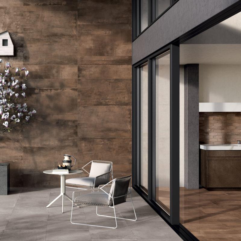 carrelage bordeaux aspect m tal grand format alliance. Black Bedroom Furniture Sets. Home Design Ideas